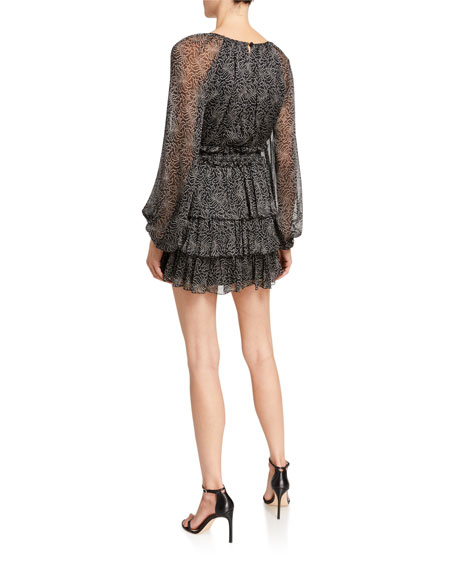 Image 2 of 2: cinq a sept Annabel Printed Long-Sleeve Flounce Dress