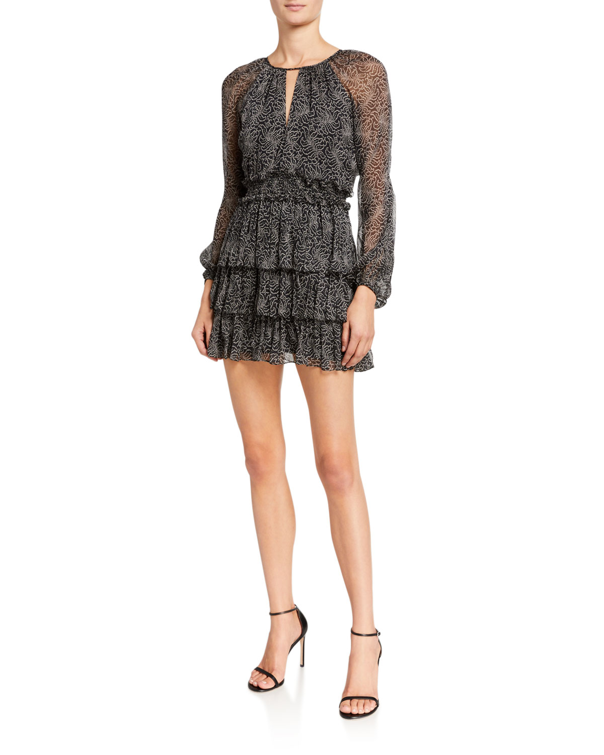 cinq a sept Annabel Printed Long-Sleeve Flounce Dress