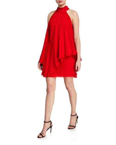 Halston Mock-Neck Short Halter Dress