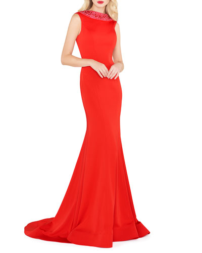 Embellished Collar Sleeveless Fitted Jersey Gown