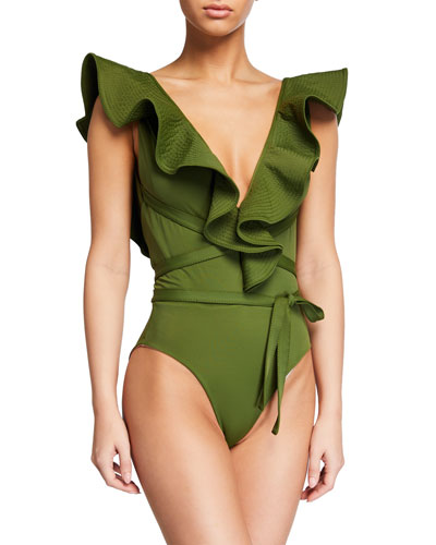 On The Shore Belted Ruffle One-Piece Swimsuit