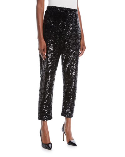 Plus Size Sequined Slim Ankle Pants