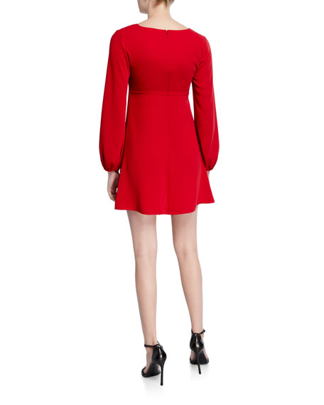 Amanda Uprichard Chyler Tie-Front Long-Sleeve Dress