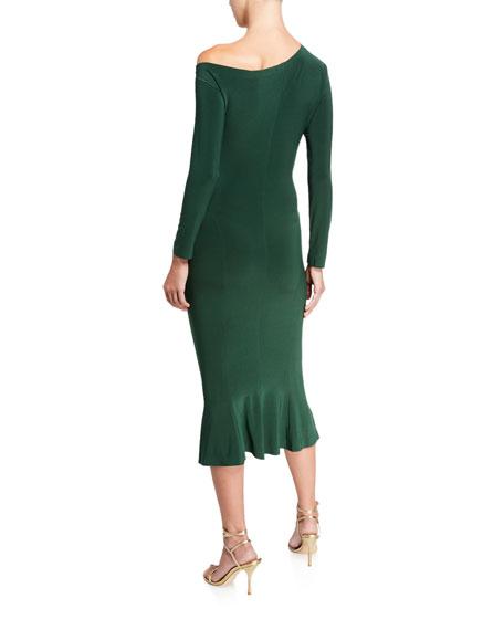 Norma Kamali Long-Sleeve Drop-Shoulder Midi Fishtail Dress