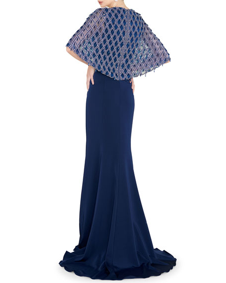 Image 2 of 2: Mac Duggal V-Neck Short-Sleeve Embellished Cape Gown with Crepe Skirt