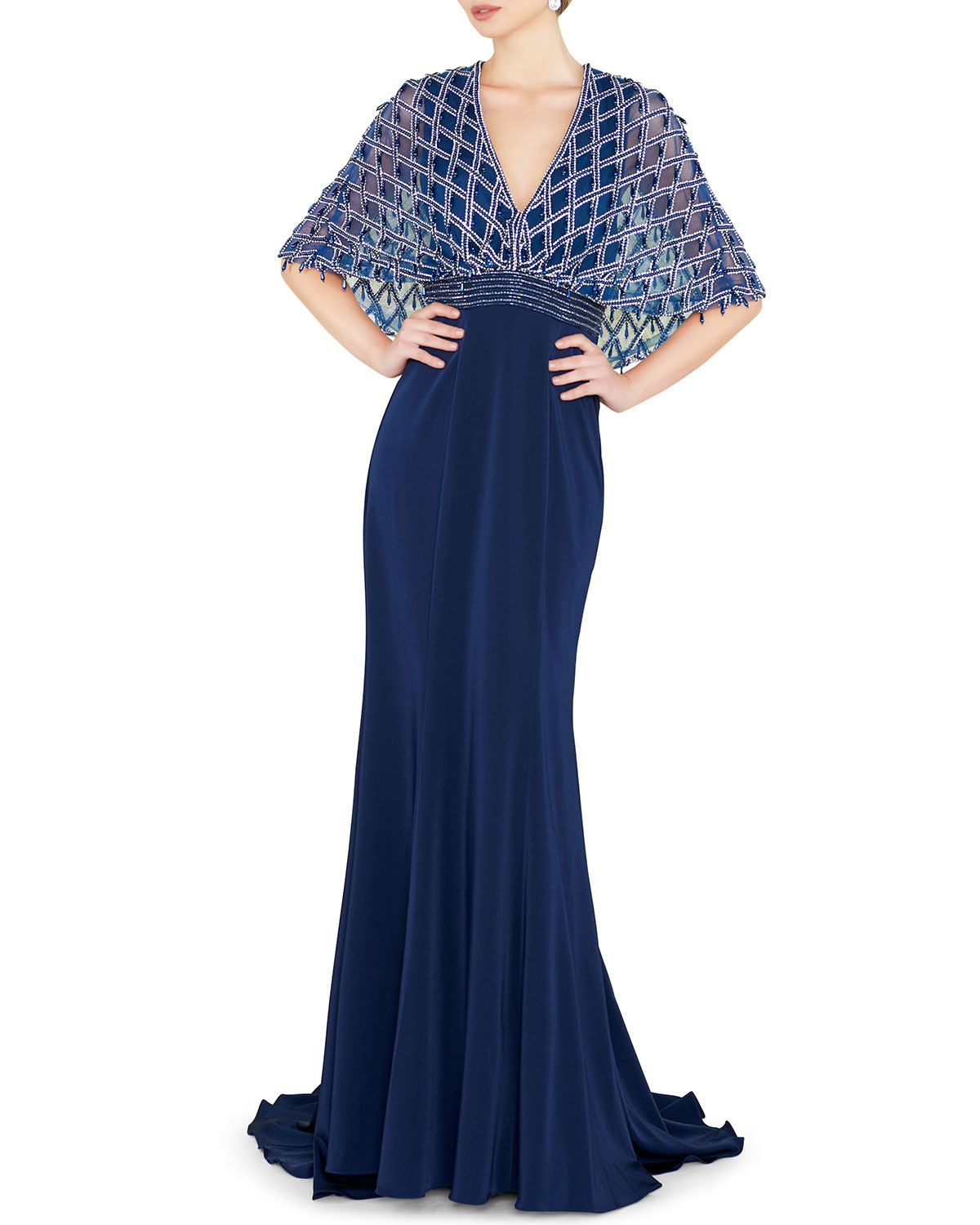 Mac Duggal V-Neck Short-Sleeve Embellished Cape Gown with Crepe Skirt