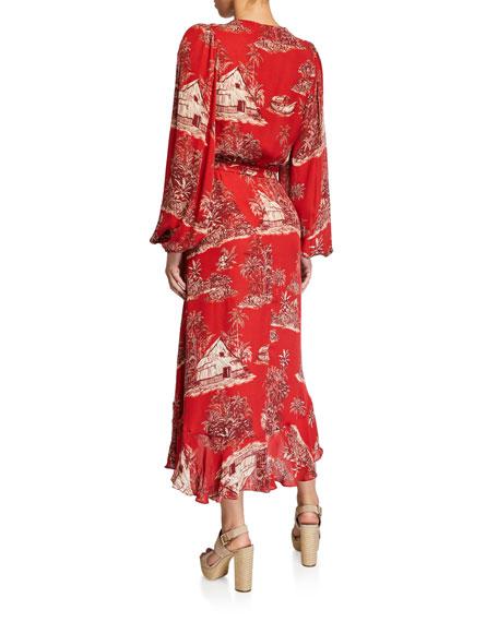 Johanna Ortiz Cuando El Rio Suena Printed Wrap Dress