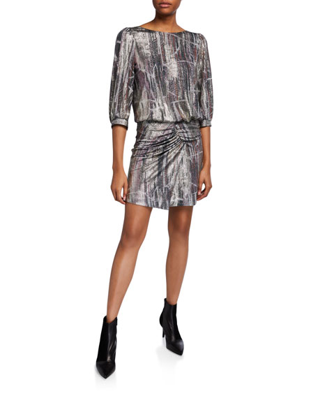 ba&sh Salina Open-Back Metallic Gathered Dress