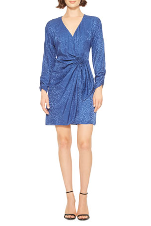Parker Linda Long-Sleeve Leopard Jacquard Cocktail Dress