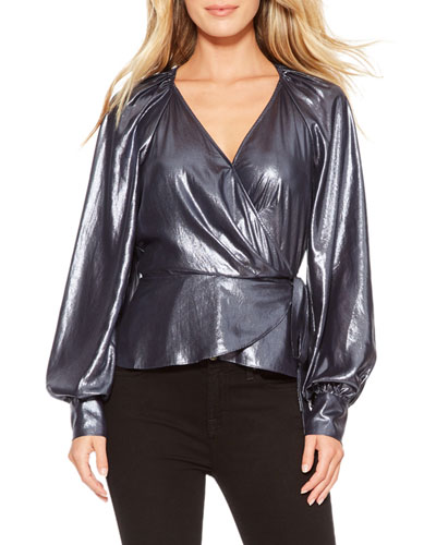Sheridan Metallic Wrap Blouse