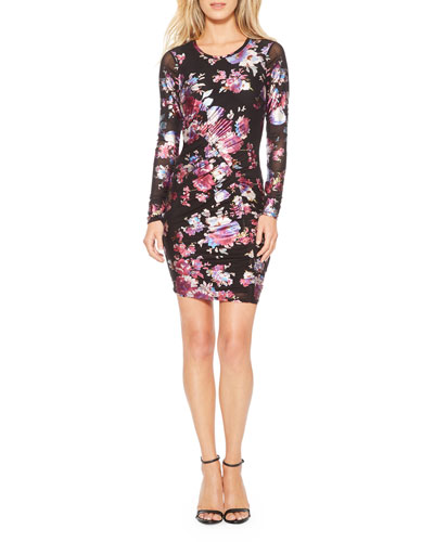 Briza Floral Metallic Body-Con Dress