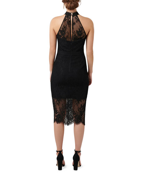 Ever New Lace Trim Halter Dress