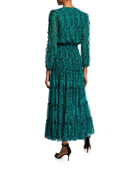 MISA Los Angeles Hadeya Printed Ruffle Maxi Dress