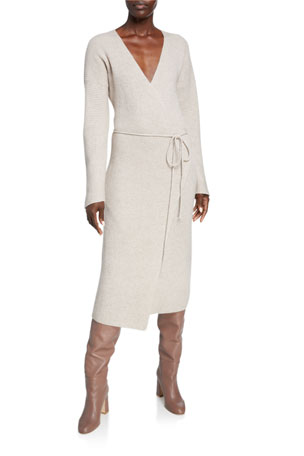 Vince Ribbed Wool/Cashmere Midi Wrap Dress