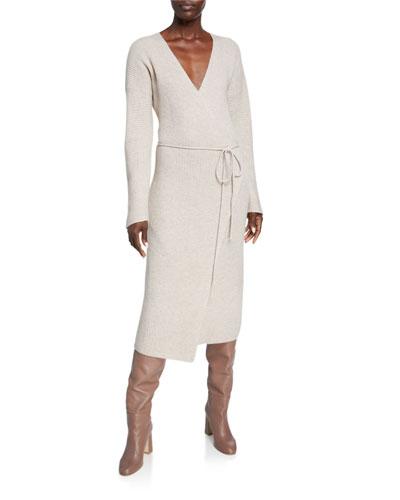 Ribbed Wool/Cashmere Midi Wrap Dress