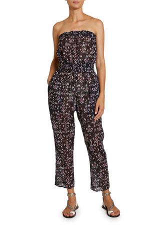 Etoile Isabel Marant Timea Floral-Print Strapless Smocked Jumpsuit
