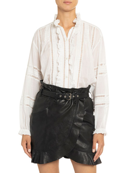 Image 1 of 4: Valda Lace-Inset Frilled Cotton Shirt