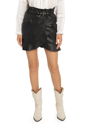 Etoile Isabel Marant Qing Belted Ruffle-Leather Skirt