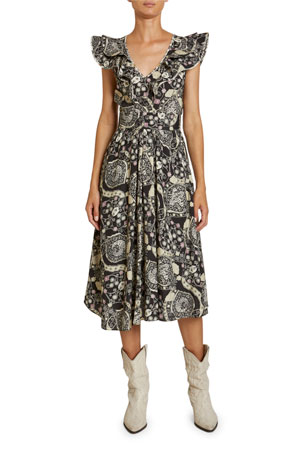 Etoile Isabel Marant Coraline Abstract Paisley Print Crepe Flutter-Sleeve Dress