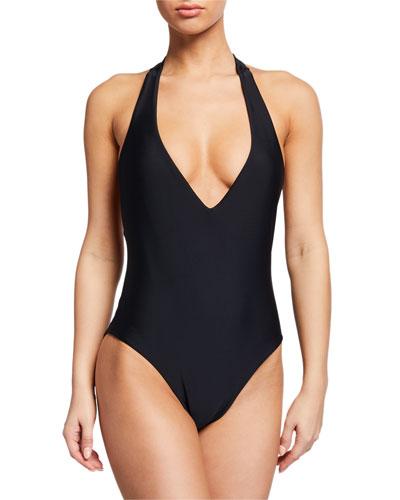 Salis Plunging Halter One-Piece Swimsuit