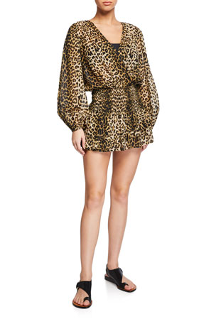 Veronica Beard Kyance Smocked Leopard-Print Coverup Dress
