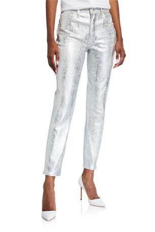 GRLFRND Karolina Coated Metallic Skinny Jeans