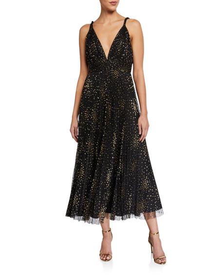 Jill Jill Stuart Sleeveless Glitter Tulle Pleated Midi Dress