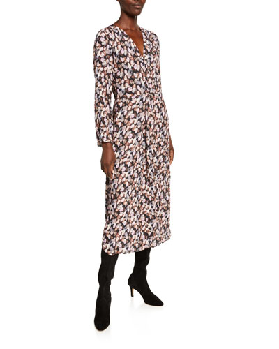 Micro Painted Floral Twist Drape Midi Dress