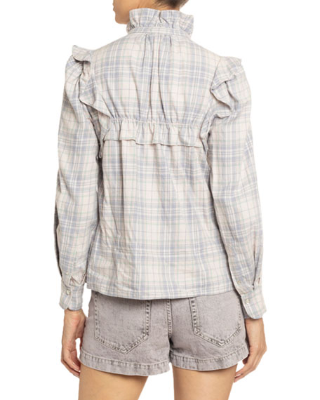 Image 2 of 3: Etoile Isabel Marant Idety Ruffle-Trim Checked Cotton Shirt