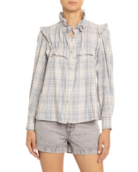 Image 3 of 3: Etoile Isabel Marant Idety Ruffle-Trim Checked Cotton Shirt