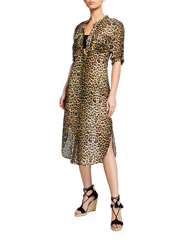Makua Leopard-Print Coverup Dress