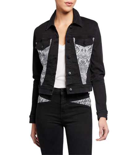 Harlow Shrunken Denim Jacket with Snake-Print Insets