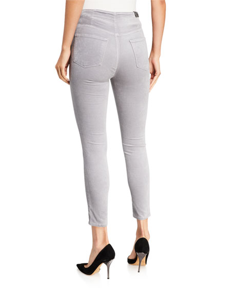 J Brand Natasha High-Rise Crop Coated Velvet Skinny Jeans