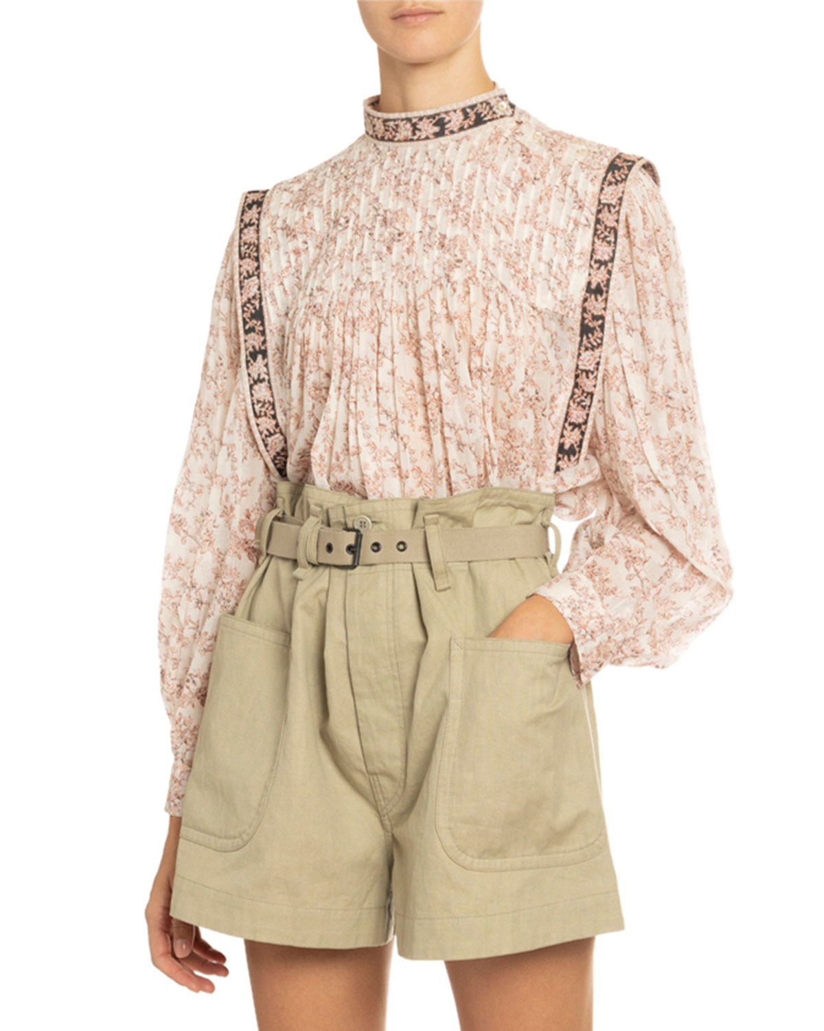 Vega Pleated Floral Print Cotton Blouse by Etoile Isabel Marant