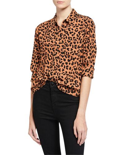 Kathryn Jaguar-Print Button-Down Shirt