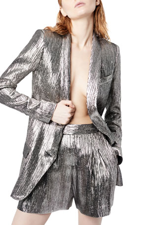 Smythe Metallic Shawl-Collar Long Blazer