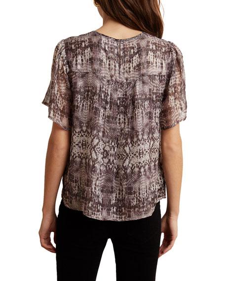 Velvet Arianna Metallic Snake-Print Short-Sleeve Top