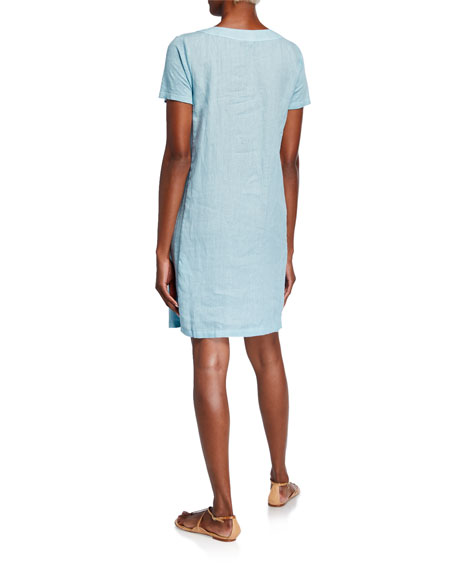 120% Lino Scoop-Neck Short-Sleeve Woven Jersey Mix Shift Dress