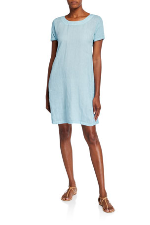 120% Lino Scoop-Neck Short-Sleeve Woven Jersey Mix Shift Dress