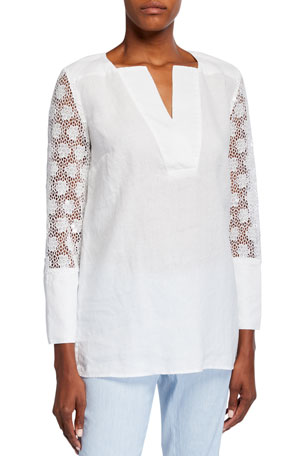 120% Lino V-Neck Linen Top w/ Floral Jacquard Sequined Sleeves