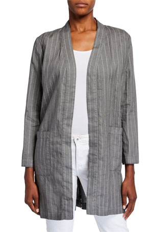 120% Lino Pinstripe Long Linen Jacket