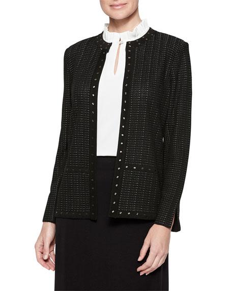 Misook Plus Size Mandarin Stud Trim Textured Knit Jacket