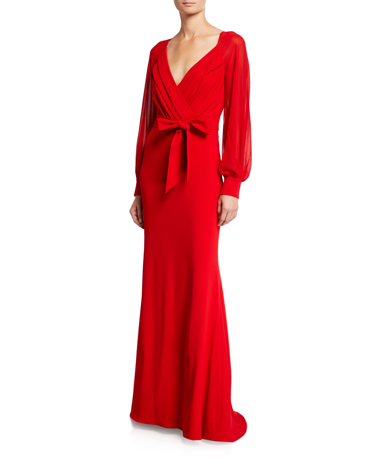 Long Sleeve Mock Wrap Crepe Gown by Badgley Mischka Collection