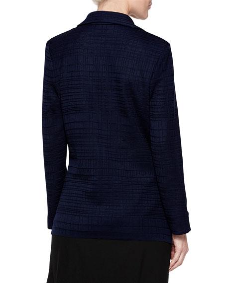 Misook Plus Size Ring Detail Grid Textured Blazer