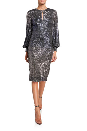 Badgley Mischka Collection Ombre Sequin Poet-Sleeve Keyhole Neck Dress