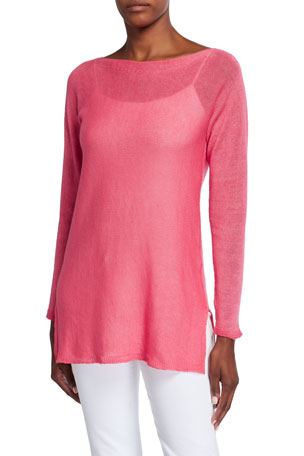 120% Lino Long-Sleeve Side-Vent Linen-Blend Sweater