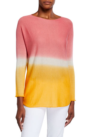 120% Lino Dip Dye Long-Sleeve Cashmere Sweater