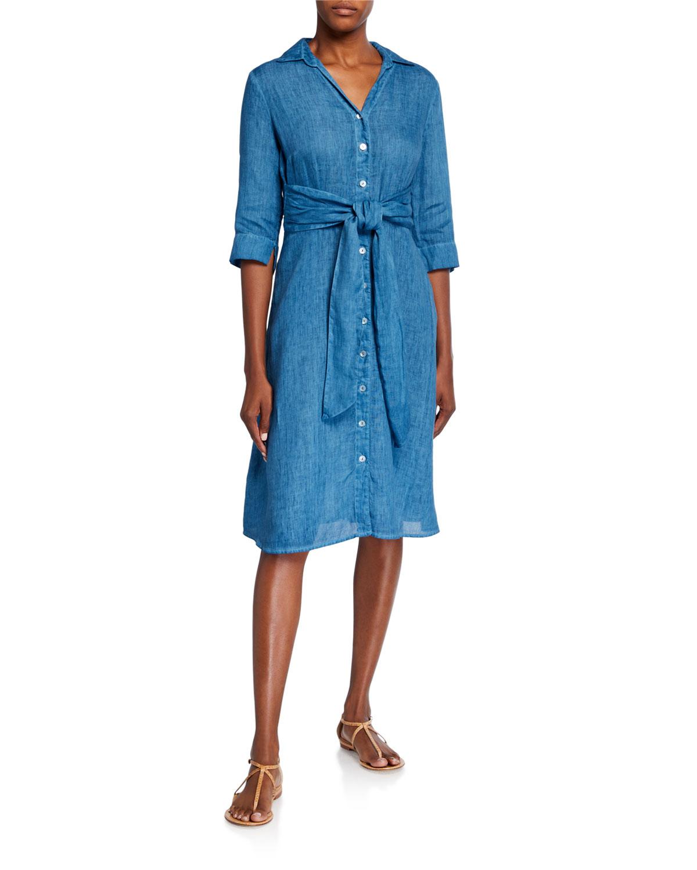 120% Lino Tie-Waist 3/4-Sleeve Button-Front Shirt Dress