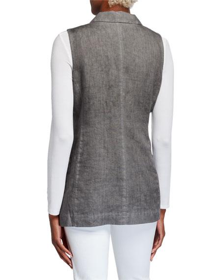 120% Lino Peak Lapel Two-Button Linen Vest