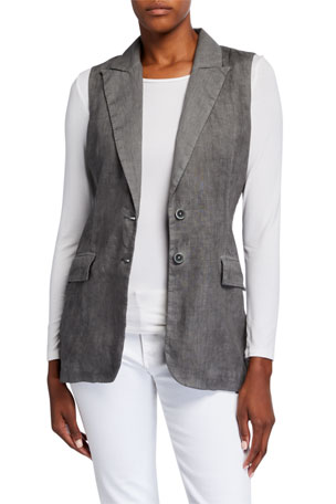 120% Lino Peak Lapel Two-Button Linen Vest